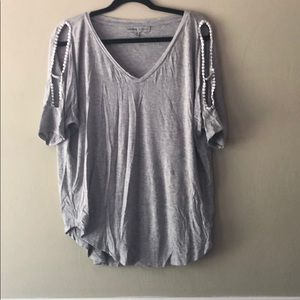 Grey soft tee with cutout shoulders